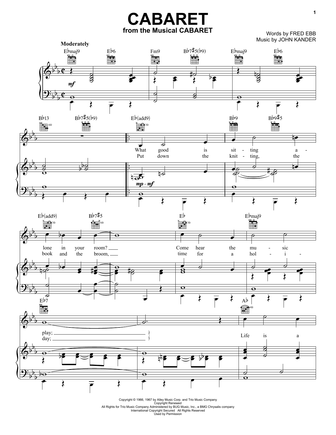 Kander & Ebb Cabaret sheet music notes and chords