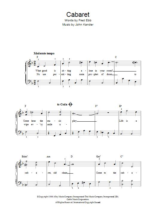 Kander & Ebb Cabaret (Chorus Only) sheet music notes and chords. Download Printable PDF.