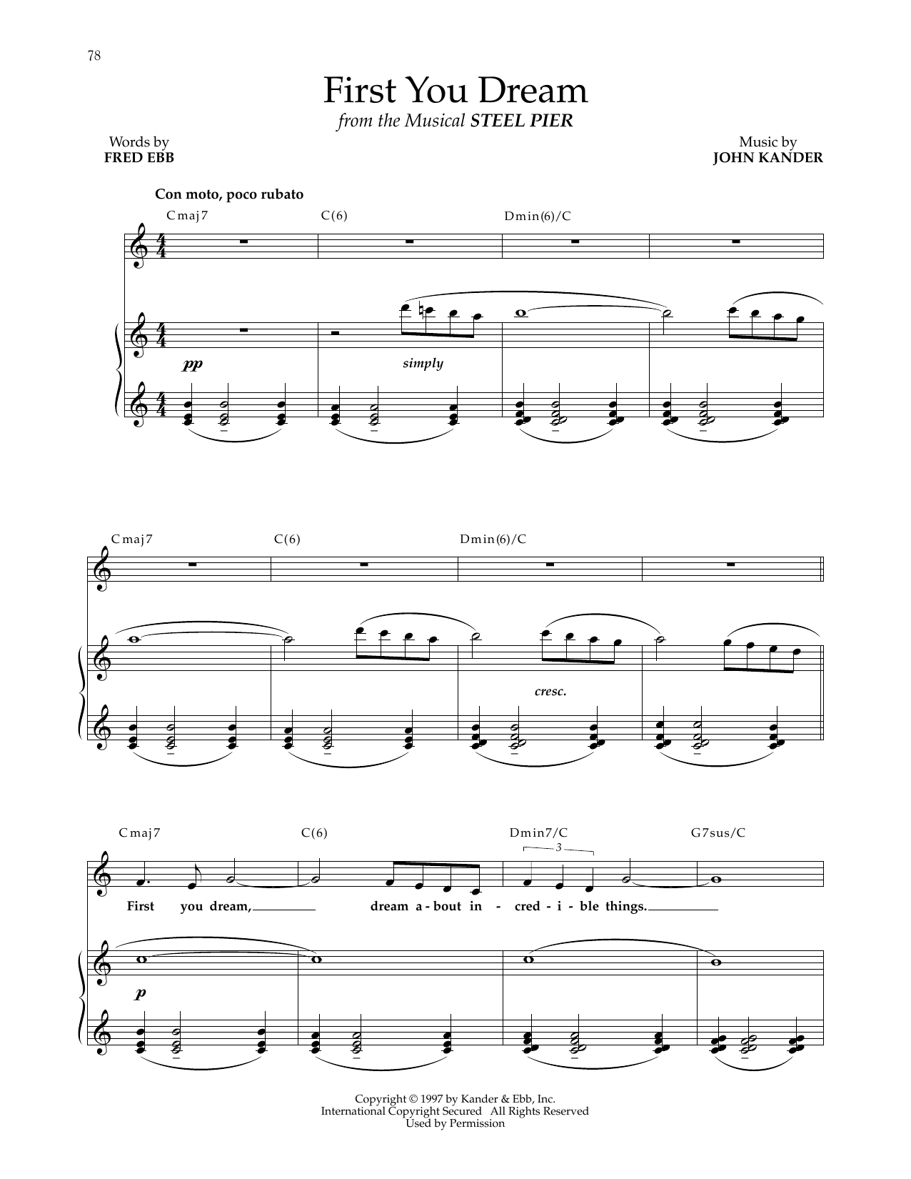 Kander & Ebb First You Dream (from Steel Pier) sheet music notes and chords. Download Printable PDF.