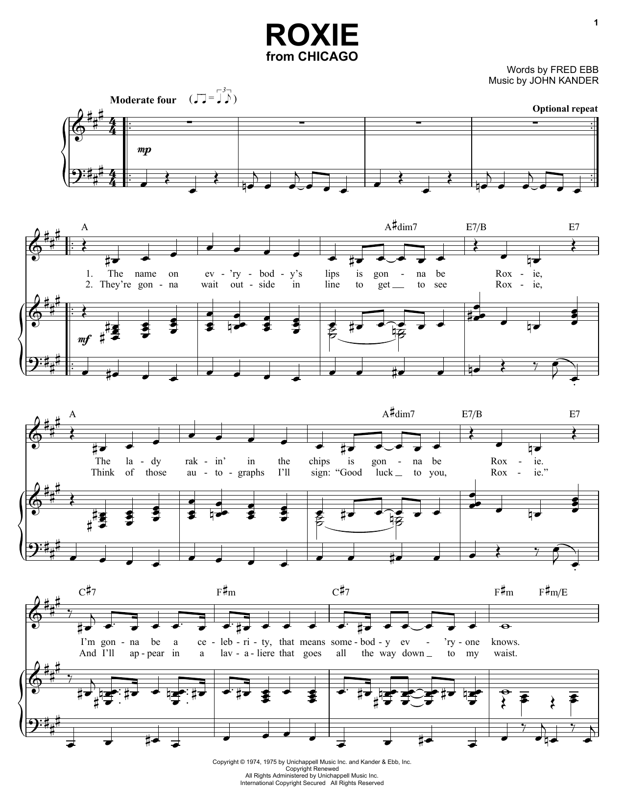 Kander & Ebb Roxie sheet music notes and chords
