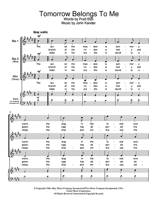 Kander & Ebb Tomorrow Belongs To Me (from Cabaret) sheet music notes and chords. Download Printable PDF.