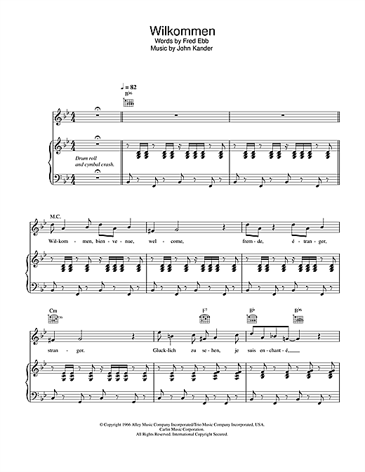 Kander & Ebb Willkommen (from Cabaret) sheet music notes and chords. Download Printable PDF.