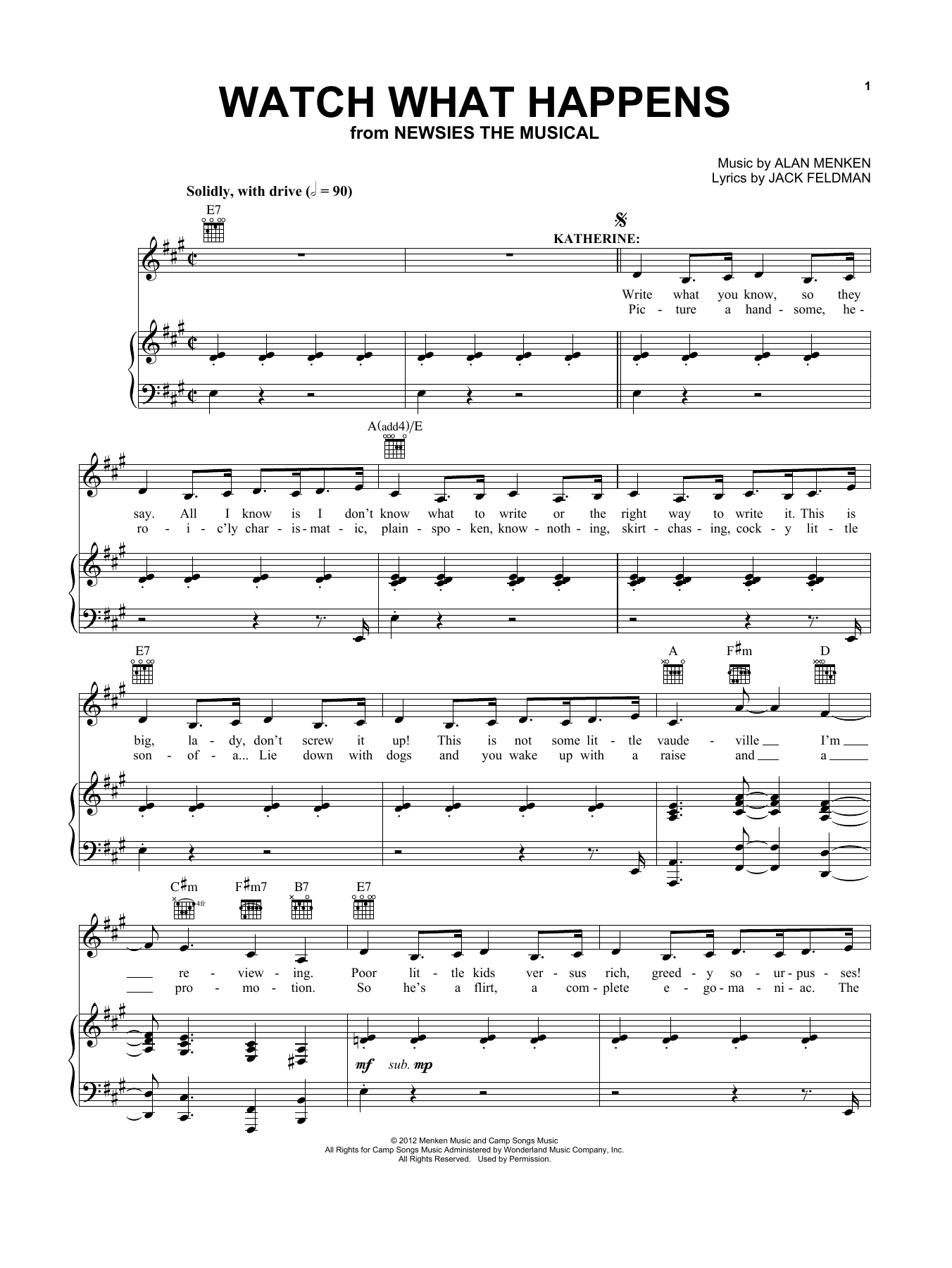 Kara Lindsay Watch What Happens (from Newsies: The Musical) sheet music notes and chords