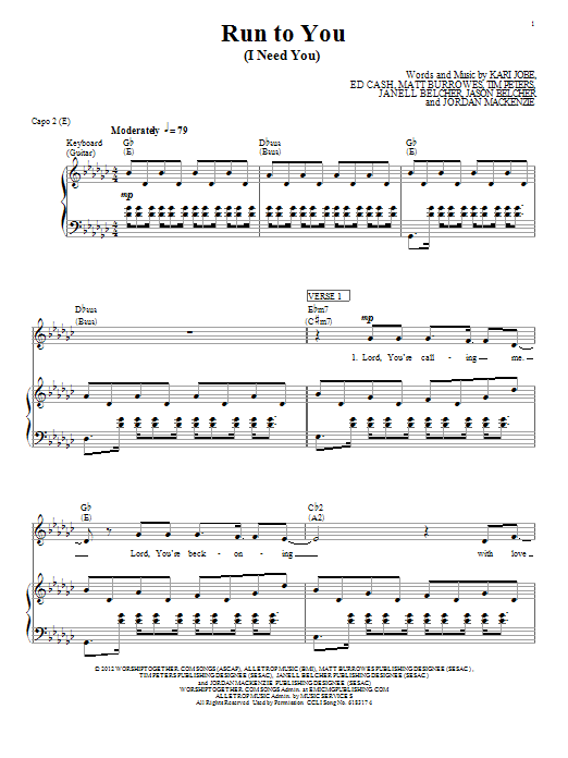 Kari Jobe Run To You (I Need You) sheet music notes and chords. Download Printable PDF.