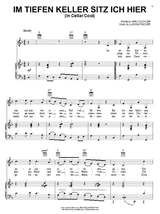 Karl Muchler Im Tiefen Keller Sitz Ich Hier (In Cellar Cool) sheet music notes and chords. Download Printable PDF.