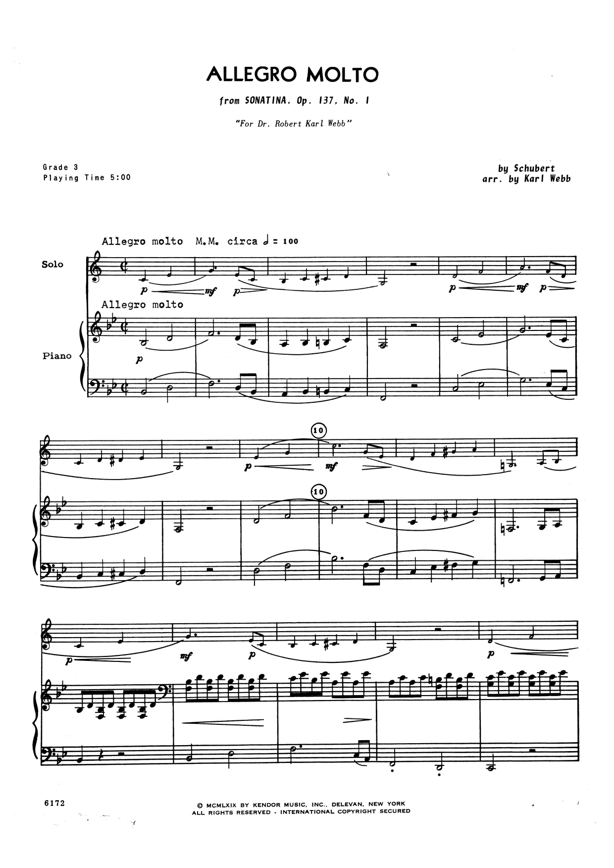Karl Webb Allegro Molto (from Sonatina, Opus 137, No. 1) - Piano Accompaniment sheet music notes and chords. Download Printable PDF.