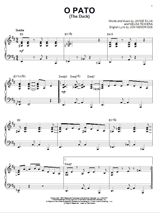 Karrin Allyson O Pato (The Duck) [Jazz version] (arr. Brent Edstrom) sheet music notes and chords. Download Printable PDF.
