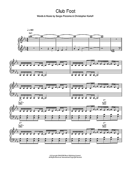 Kasabian Club Foot sheet music notes and chords. Download Printable PDF.