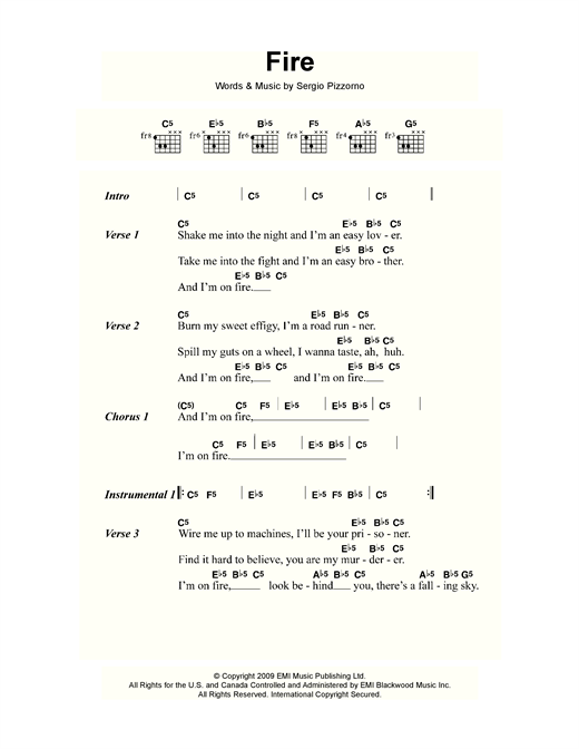 Kasabian Fire sheet music notes and chords. Download Printable PDF.