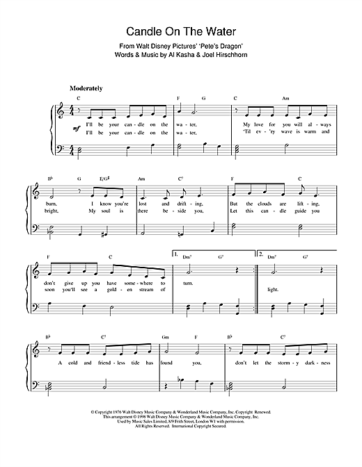 Kasha & Hirschhorn Candle On The Water (from Walt Disney's Pete's Dragon) sheet music notes and chords. Download Printable PDF.