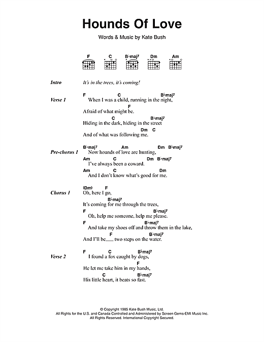 Kate Bush Hounds Of Love sheet music notes and chords. Download Printable PDF.