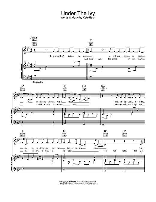 Kate Bush Under The Ivy sheet music notes and chords. Download Printable PDF.