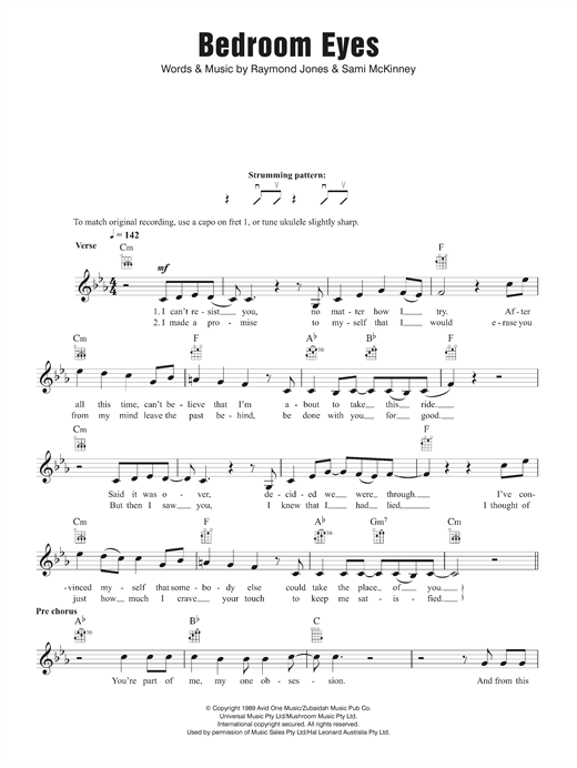 Kate Ceberano Bedroom Eyes sheet music notes and chords. Download Printable PDF.