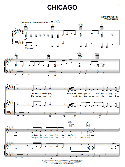 Kate Voegele Chicago sheet music notes and chords. Download Printable PDF.