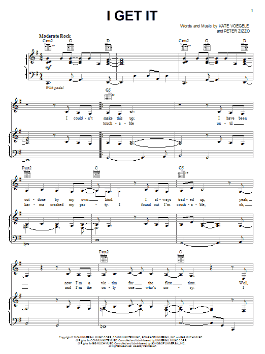Kate Voegele I Get It sheet music notes and chords. Download Printable PDF.