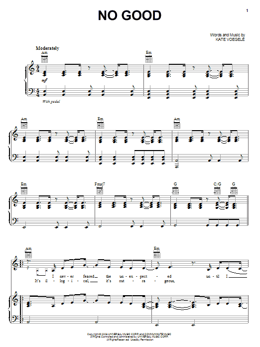 Kate Voegele No Good sheet music notes and chords. Download Printable PDF.