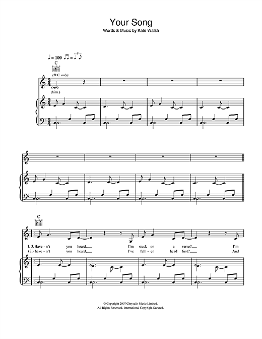 Kate Walsh Your Song sheet music notes and chords