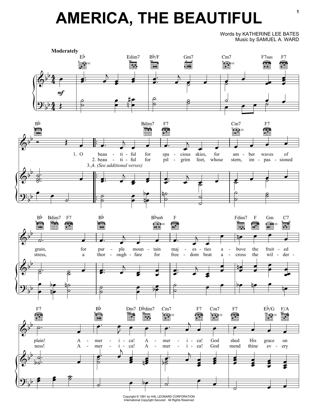 Katharine Lee Bates America, The Beautiful sheet music notes and chords. Download Printable PDF.