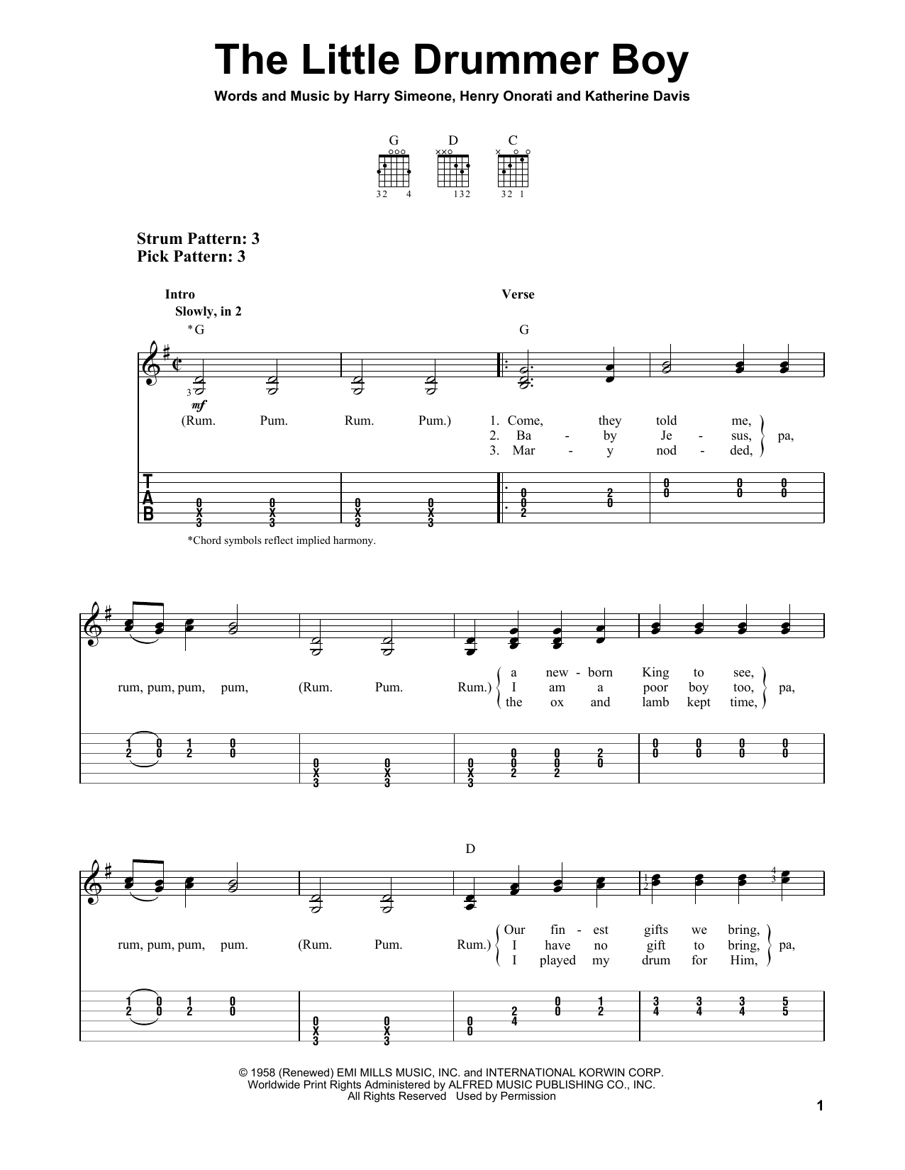 Katherine Davis The Little Drummer Boy sheet music notes and chords