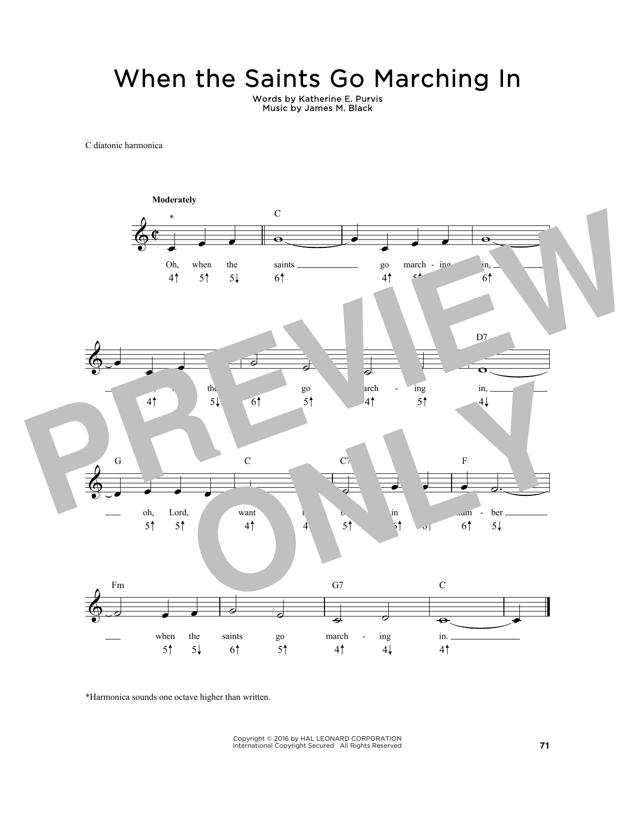 Katherine E. Purvis When The Saints Go Marching In sheet music notes and chords. Download Printable PDF.
