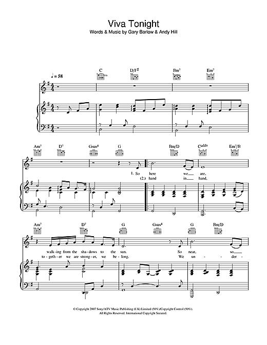 Katherine Jenkins Viva Tonight sheet music notes and chords. Download Printable PDF.