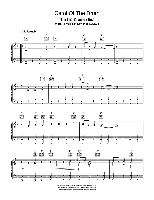 Katherine K. Davis Carol Of The Drum (The Little Drummer Boy) sheet music notes and chords