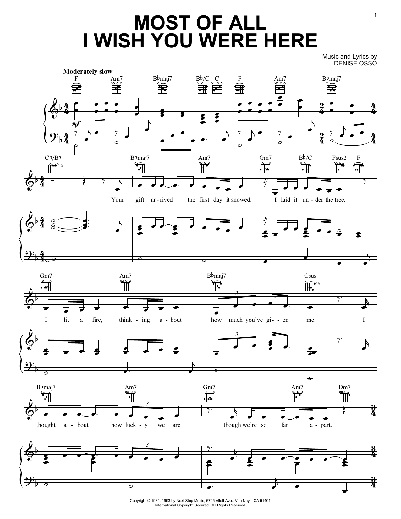 Kathie Lee Gifford Most Of All I Wish You Were Here sheet music notes and chords. Download Printable PDF.