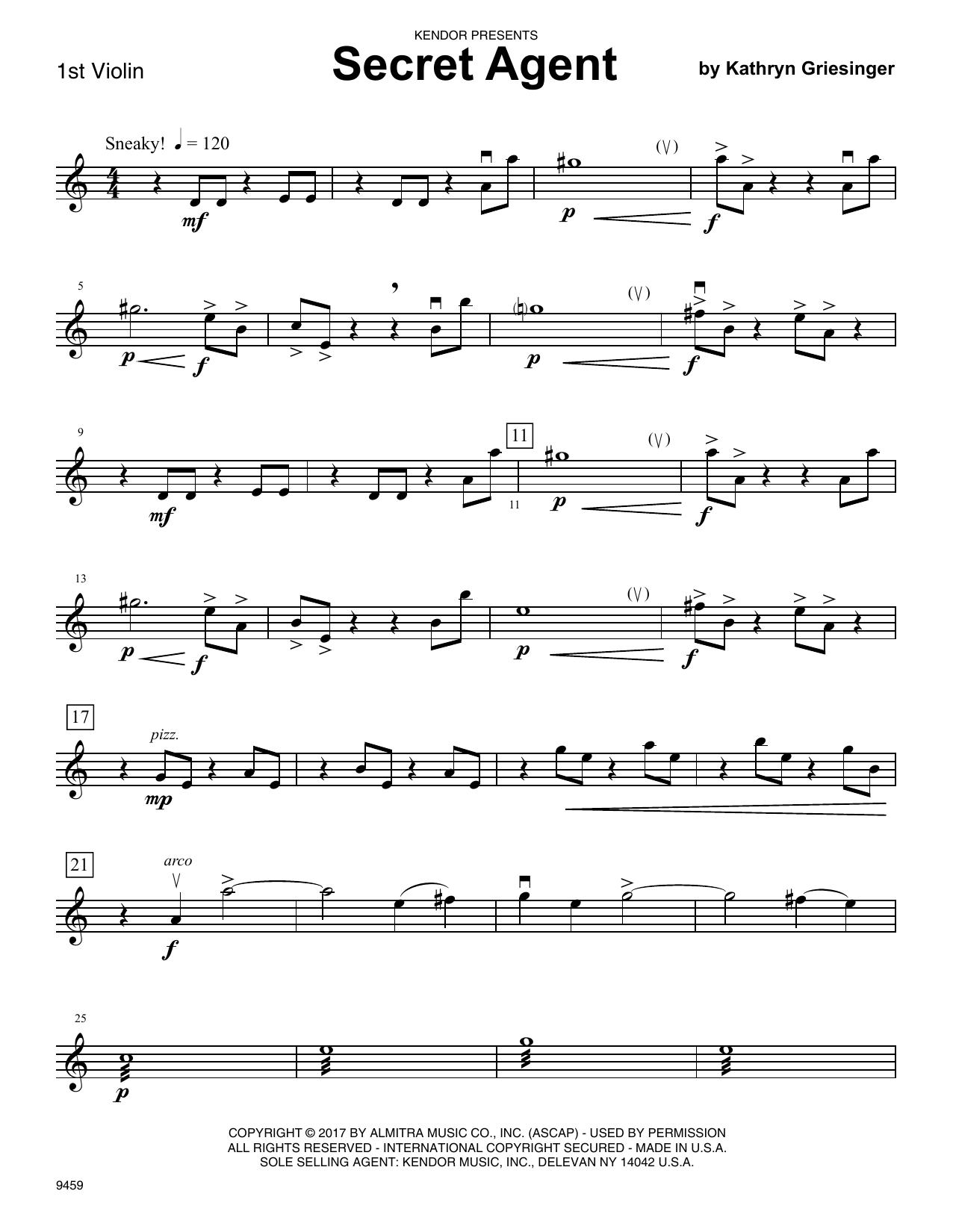 Kathryn Griesinger Secret Agent - 1st Violin sheet music notes and chords. Download Printable PDF.