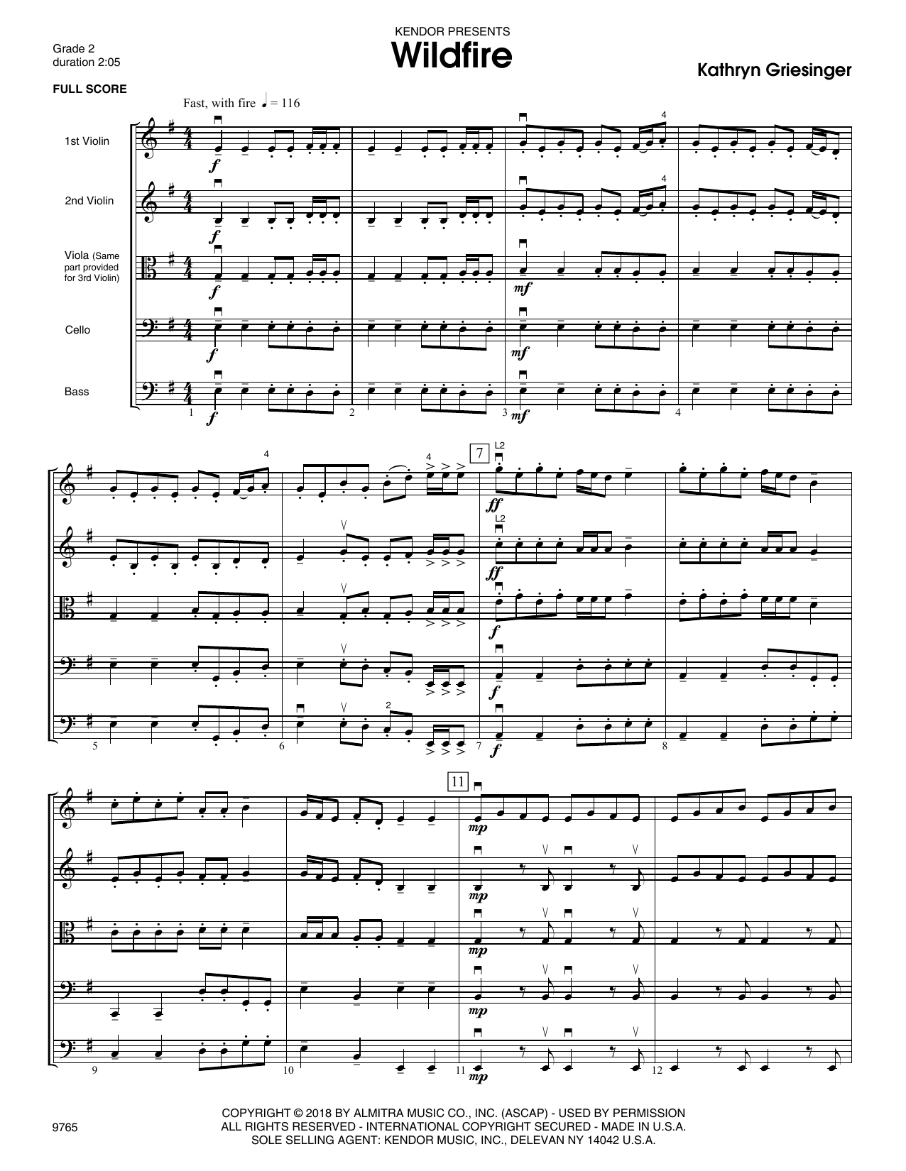 Kathryn Griesinger Wildfire - Full Score sheet music notes and chords. Download Printable PDF.