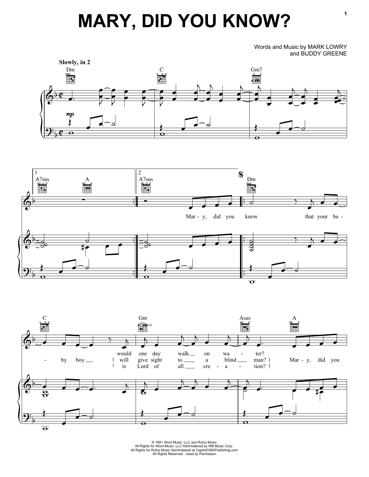Kathy Mattea Mary Did You Know Sheet Music Pdf Notes Chords Christian Score Piano Vocal Guitar Right Hand Melody Download Printable Sku 158843