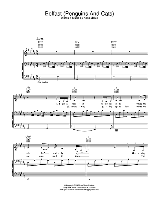 Katie Melua Belfast (Penguins And Cats) sheet music notes and chords