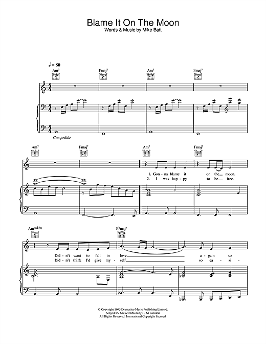 Katie Melua Blame It On The Moon sheet music notes and chords. Download Printable PDF.