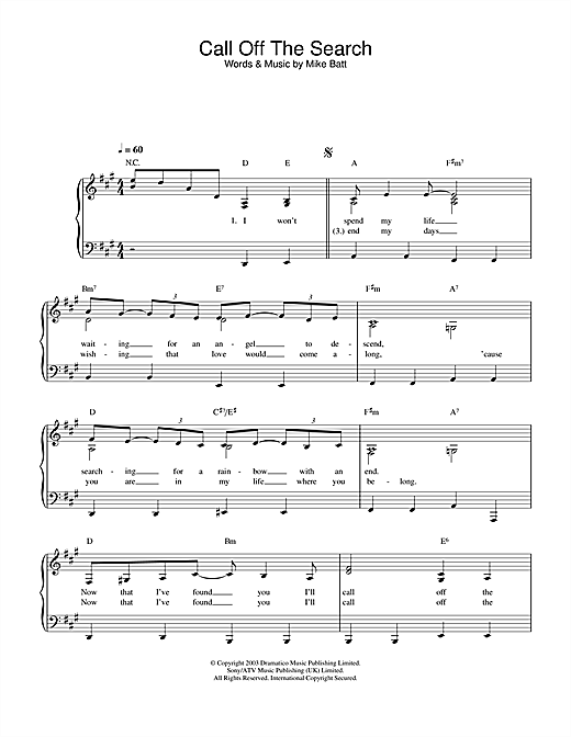 Katie Melua Call Off The Search sheet music notes and chords. Download Printable PDF.