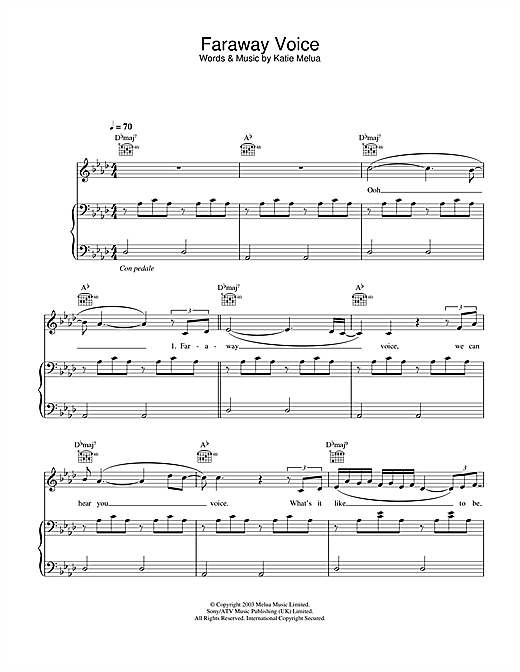 Katie Melua Faraway Voice sheet music notes and chords