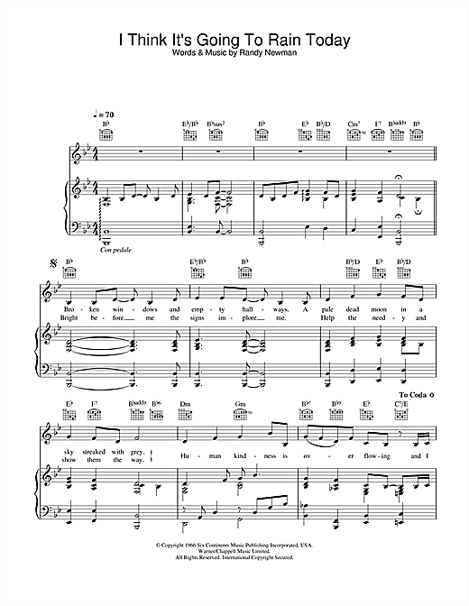 Katie Melua I Think It's Going To Rain Today sheet music notes and chords. Download Printable PDF.