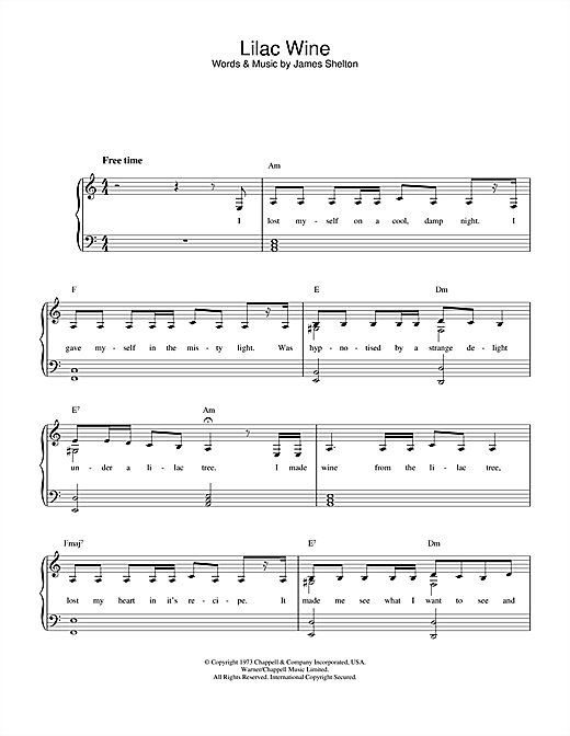 Katie Melua Lilac Wine sheet music notes and chords. Download Printable PDF.