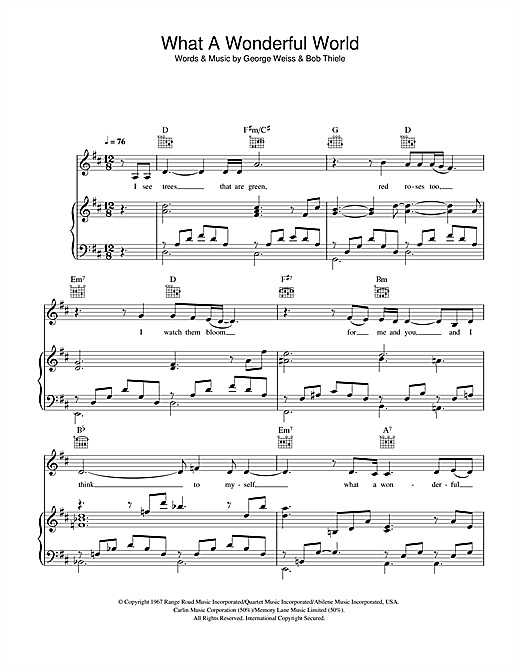 Katie Melua What A Wonderful World sheet music notes and chords