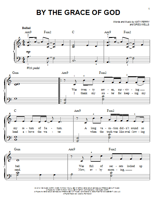 Katy Perry By The Grace Of God sheet music notes and chords