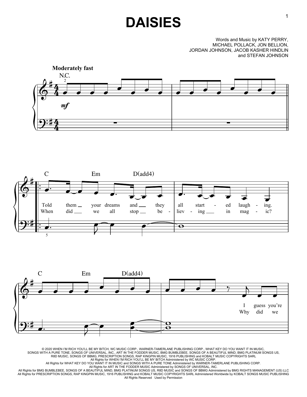 Katy Perry Daisies sheet music notes and chords. Download Printable PDF.