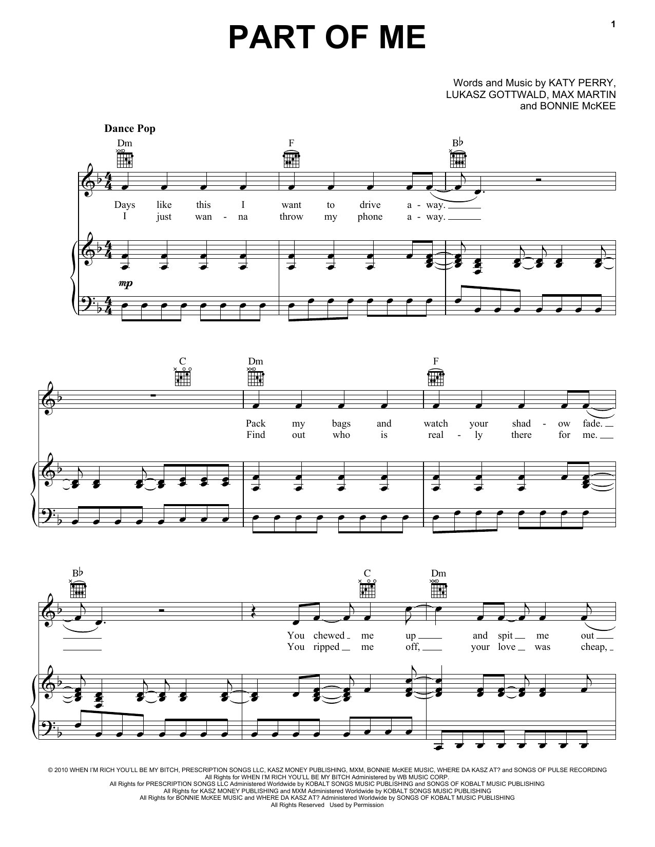 Katy Perry Part Of Me sheet music notes and chords