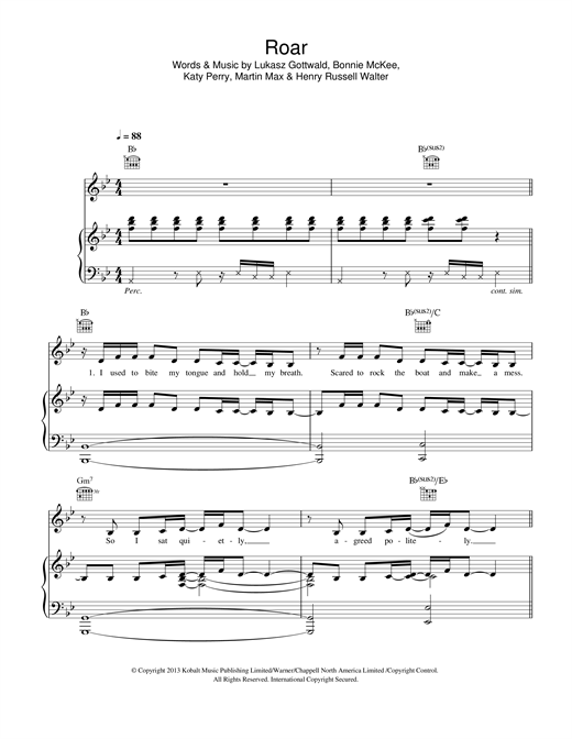 Katy Perry Roar sheet music notes and chords