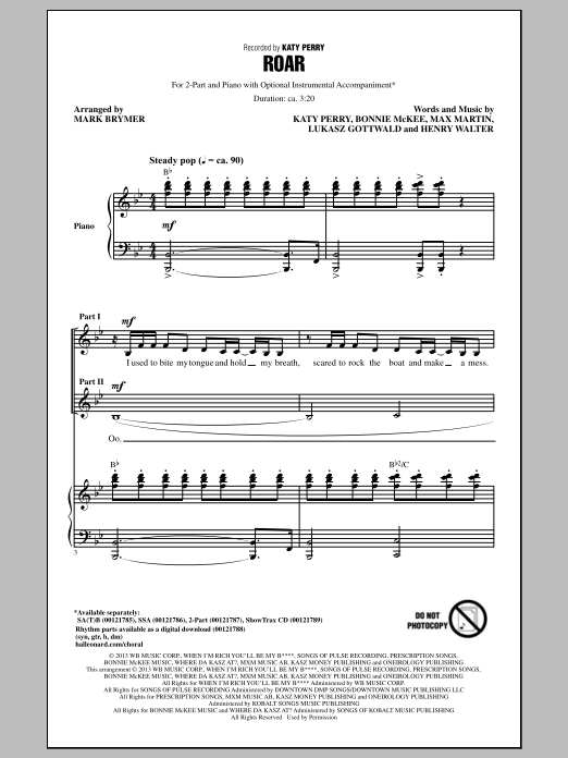 Katy Perry Roar (arr. Mark Brymer) sheet music notes and chords