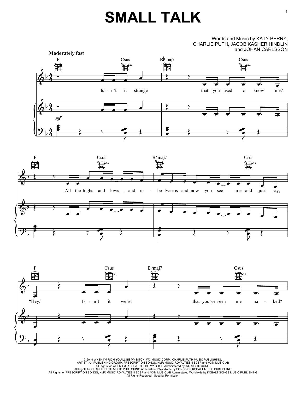 Katy Perry Small Talk sheet music notes and chords