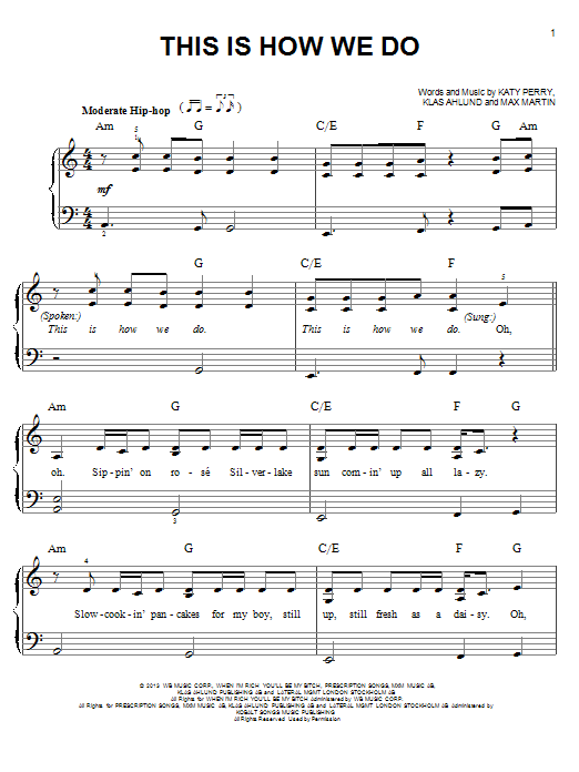 Katy Perry This Is How We Do sheet music notes and chords