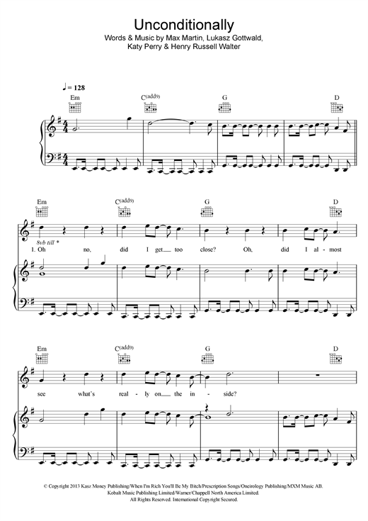Katy Perry Unconditionally sheet music notes and chords. Download Printable PDF.