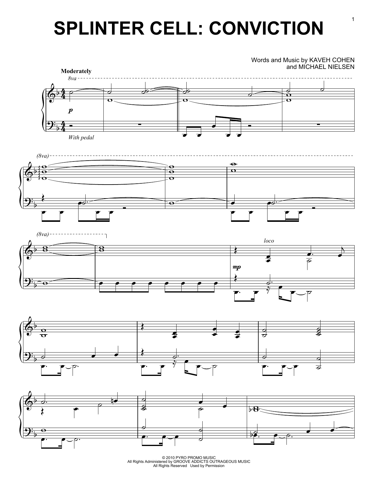 Kaveh Cohen Splinter Cell: Conviction sheet music notes and chords. Download Printable PDF.