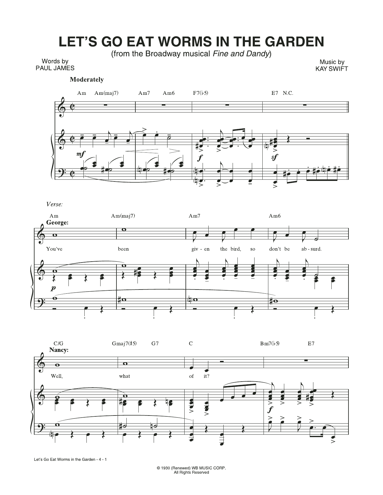 Kay Swift & Paul James Let's Go Eat Worms In The Garden (from the musical Fine and Dandy) sheet music notes and chords. Download Printable PDF.