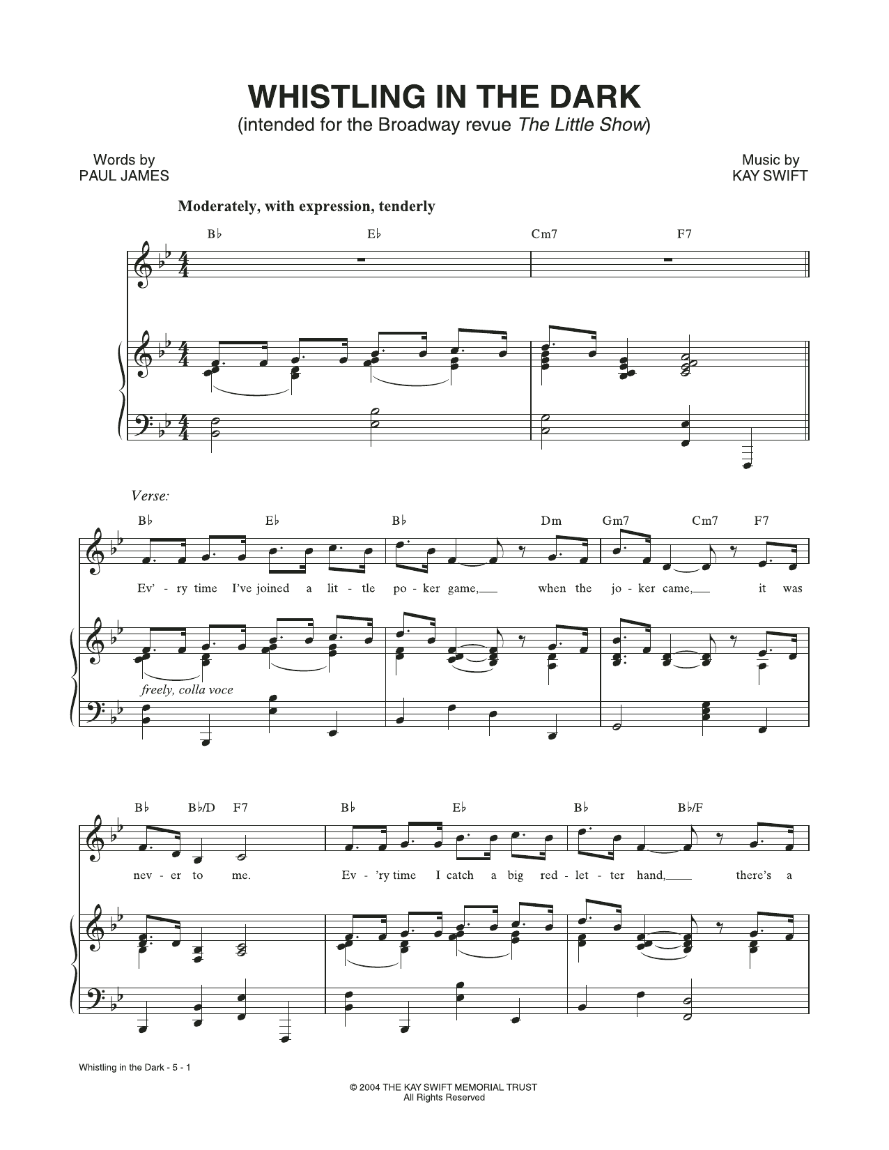 Kay Swift & Paul James Whistling In The Dark (from The Little Show) sheet music notes and chords. Download Printable PDF.