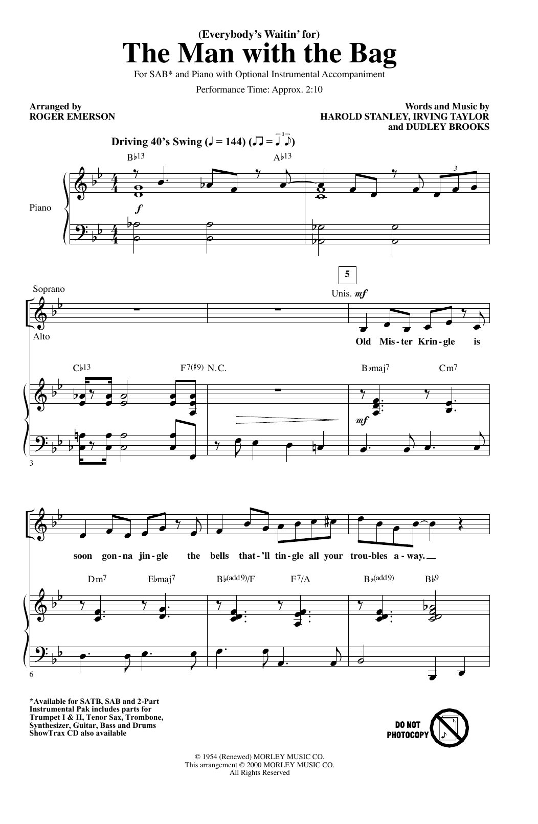 Kaye Starr (Everybody's Waitin' For) The Man With The Bag (arr. Roger Emerson) sheet music notes and chords. Download Printable PDF.