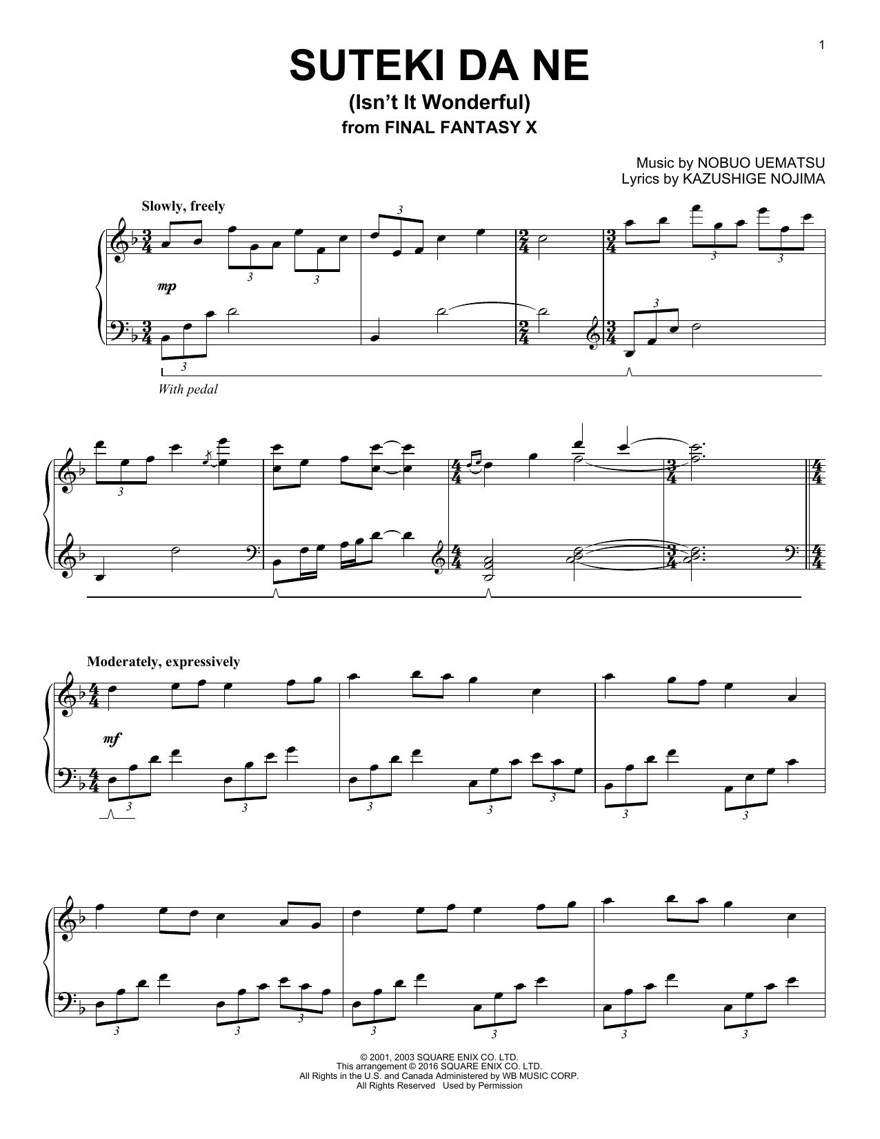 Kazushige Nojima Suteki Da Ne (Isn't It Wonderful) sheet music notes and chords